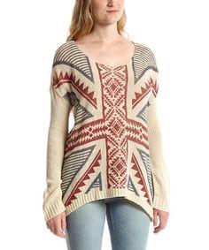Look at this #zulilyfind! Desert Sand Geo Union Jack Dolman Sweater - Women #zulilyfinds