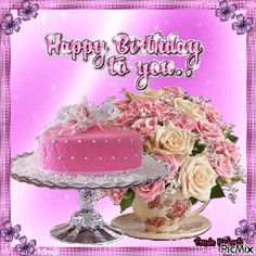 See the PicMix Happy birthday belonging to truderu on PicMix. Happy Birthday Gif Images, Birthday Wishes Flowers, Happy Birthday Celebration, Happy Birthday Wishes Cards, Happy Birthday Flower, Birthday Blessings, Happy Birthday Female Friend, Happy Birthday Daughter, Child Quotes