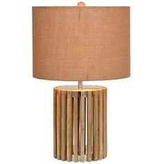 Natural Wood Slat Table Lamp ($80) ❤ liked on Polyvore featuring home, lighting, table lamps, wood lighting, vertical shades, wood light, wood shades and wood table lamp