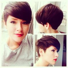 Trendy Short Pixie Haircuts for Long Face: Side View - The splendid short hairstyle is cut round, which form a smooth and modern silhouette. The silky layers are graduated and the nape area is kept shorter to enhance the roundness of the hairstyle. The thick and neat bangs are created with a razor-tool for some softness - See more at: http://pophaircuts.com/cute-hairstyles-for-short-hair#sthash.2yDrQS9j.dpuf