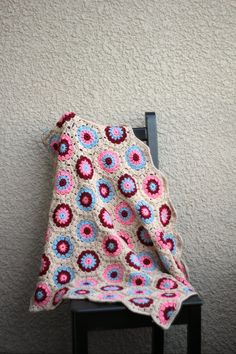 Crochet baby blanket colorful baby blanket beige blue coral pink and red newborn blanket baby shower gift