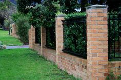 3 Adorable Tips AND Tricks: Contemporary Stone Fence mini garden fence.Contemporary Pool Fence old iron fence. Brick Columns, Brick Fence, Front Yard Fence, Metal Fence, Pool Fence, Backyard Fences, Fence Gate, Garden Fencing, Brick Wall