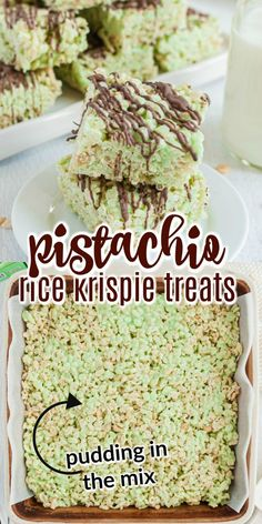 Made with pudding mix and drizzled with dark chocolate, these are not your everyday Rice Krispie Treats! Try this pistachio dessert that puts a new twist on your childhood favorite.