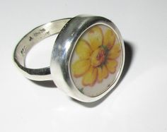 Broken China Ring Sterling Silver Yellow by MaroonedJewelry