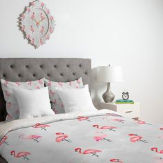 Hello Sayang Flaming Flamingo Duvet Cover | Deny Designs Home Accessories