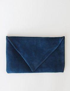 Blue suede clutch