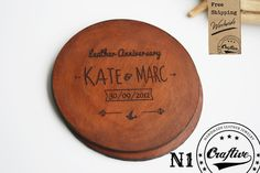 These personalized leather coasters are the perfect gift for a wedding anniversary, a housewarming  or to use as a wedding favor. Something that your guests will definitely...