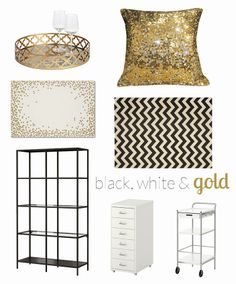 Wednesday Wishlist: Black, White & Gold Decor | allGLAMMEDup #home #decor #sequins