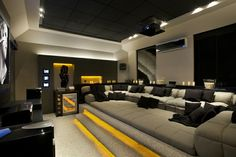 The good home theater design is a room that can be enjoyed comfortably while hanging out with family and friends. Here are some explanations about the Home Theater Room Design Ideas that can inspire you to design your Home Theatre room. Home Cinema Room, Home Theater Rooms, Home Theater Seating, Home Theater Design, Home Interior Design, Theater Seats, Attic Theater, Modern Mansion Interior, Home Theater Basement