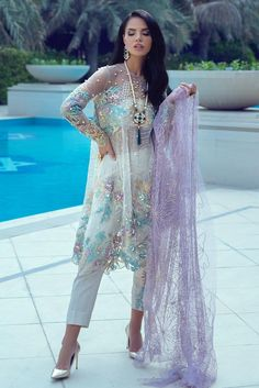 Embroidered party dress with sequins is presented for party and wedding wear. We are offering fast delivery for Embroidered party dress in all over USA Pakistani Wedding Dresses, Pakistani Dress Design, Wedding Party Dresses, Wedding Wear, Dresser, Latest Fashion Design, Pakistani Designers, Dress Making, Party Wear
