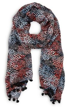 Kate wore this new L.K. Bennett Sammi Blue Silk Scarf as she attended church at St Mary Magdalene Church at Sandringham on January 8, 2017. The scarf is 100% silk with with either small black pom-pom or knotted silk trim on the ends.