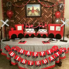 out this fantastic Vintage Train Birthday Party! See more party ideas and share yours at Thomas The Train Birthday Party, 2nd Birthday Boys, Second Birthday Ideas, Trains Birthday Party, 3rd Birthday Parties, Polar Express Birthday Cake, Train Birthday Cakes, Happy Birthday, Birthday Table