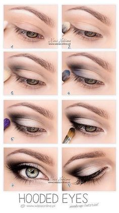 So pretty-------Hooded Eyes Makeup. This works so well for hooded eyes, you wouldn't believe it until u try. It's not that drastic, mostly black eyeshadow, eyeliner and mascara. But it makes a huge difference Eye Makeup Tips, Makeup Hacks, Skin Makeup, Beauty Makeup, Makeup Ideas, Makeup Products, Mac Makeup, Beauty Products, Makeup Eyeshadow