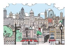 Online shop selling cards and prints by illustrator Damien Weighill London Photos, London Art, Adult Coloring, Coloring Books, Skyline, Colorful Artwork, Vintage London, London Calling, Town And Country