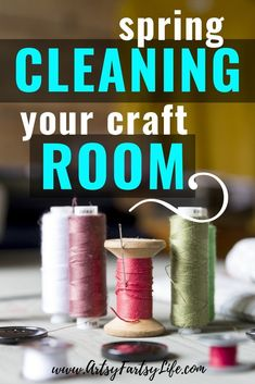 Tips and ideas for how to get your craft room or artist studio organized and clean. How to organize your craft room and craft supplies! Easy and effective ways to keep your craft room clean. Sewing Room Organization, Studio Organization, Craft Room Storage, Organization Hacks, Craft Rooms, Organization Ideas, Indoor String Lights, Organize Fabric, Organizer