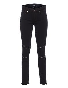 Skinny Jeans mit Nieten Paige kreiert einzigartige Denims mit Charakter!  Knöchellange schwarze Skinny Jeans im hüfthohen Schnitt mit cooler Nieten-Verzierung, Knienähten und Ankle-Zippern.  Die perfekte Skinny mit rockigem Touch!