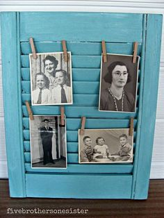 How cool! photo gallery from repurposed shutter!