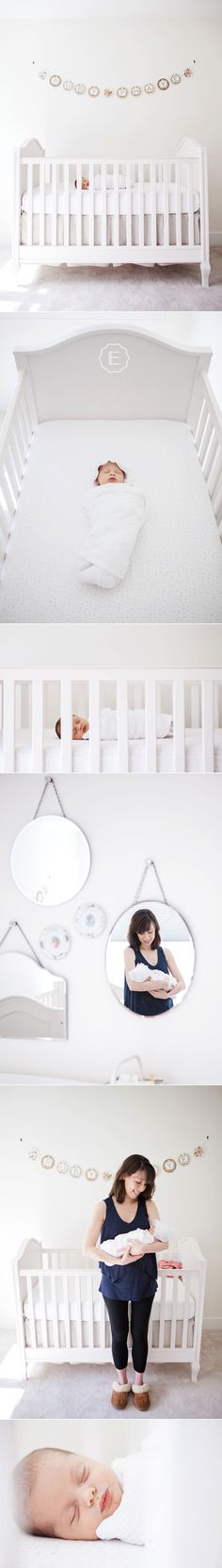 Natural Light Newborn Photos | White Crib, Paper Source Botanical Garland, Lifestyle Portrait Session | Boston Area Family Photography by Elizabeth Clark