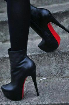 6cec32f5a8a9 Black Shoes, Crne Cizmice, Rote Sohle, High Heels, Stikle   ChristianLouboutin