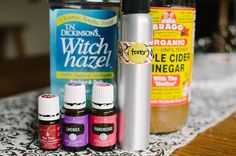 DIY Facial Toner with Essential Oils Glass or stainless steel spray bottle (Here's what I used) Raw apple cider vinegar (Get it here) Witch hazel (Get it here) Water 15 drops of Frankincense essential oil (Learn how to get started with essential oils here) 15 drops of Lavender essential oil 5-10 drops of Tea tree / Melaleuca Alternifolia essential oil (optional if you have oily, acne / breakout prone skin) 5-10 drops of Patchouli essential oil (optional)