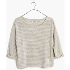 MADEWELL Audio Tee in Belridge Stripe ($40) ❤ liked on Polyvore featuring tops, t-shirts, bleached linen, striped tee, madewell t shirts, boxy t shirt, white top and madewell tee