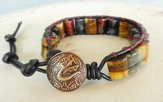 Dragon Wrap Blue Red and Yellow Tiger Eye Single Wrap Leather Bracelet   GemOnAWire - Jewelry on ArtFire
