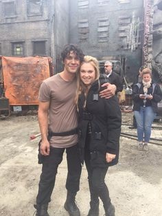 Bob Morley and Eliza Taylor. BTS on The 100 season 4.