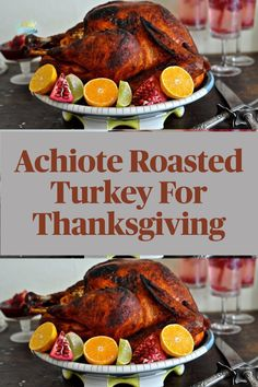 Make A Splash At Thanksgiving This Year With My Achiote Roasted Turkey Recipe! This simple but fancy Thanksgiving turkey is a gorgeous roasted red and super flavorful thanks to Mexican achiote paste. This recipe gets rave reviews every time even from the most traditional turkey lovers. Get the recipe on holajalapeno.com #recipe #thanksgivingturkey #turkeyrecipe