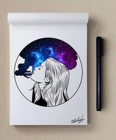 Contest Pizza for a year cash free car check it out - The world's most private search engine Galaxy Drawings, Cool Drawings, Trippy Drawings, Arte Sketchbook, Galaxy Art, Art Graphique, Doodle Art, Art Sketches, Art Inspo