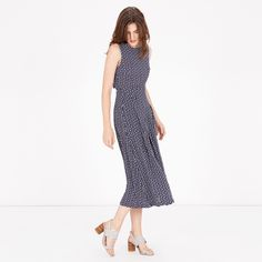 Warehouse, SQUIGGLE PRINT OPEN BACK DRESS Blue Pattern 1