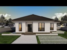 Proiect casa EMA | Parter | 2 camere | 97 mp - YouTube Modern Exterior, Interior And Exterior, Simple Bungalow House Designs, One Floor House Plans, One Story Homes, Home Room Design, House Rooms, Home Fashion, Modernism