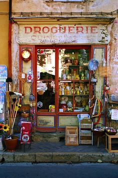 From the UK it's quick and easy to drive to France via the Eurotunnel. See real French culture first hand like this Drouguerie. (hardware shop)