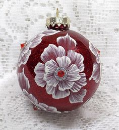 Glittery Red Hand Painted 3D MUD Floral Ornament with Crystal Trim. MargotTheMUDLady on Etsy