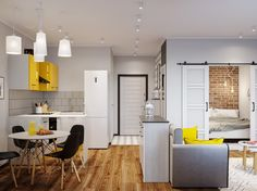 Using Colour In Moderation In Small Spaces Kitchen Cabinets And Worktops, Small Space Living, Small Spaces, Wood Slat Wall, Small House Interior Design, Bedroom Nook, Apartment Layout, Modern Staircase, Open Plan Kitchen