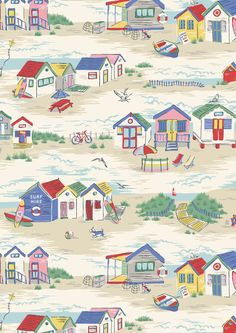Bright British beach huts are at the heart of our playful seaside scene British Beaches, British Seaside, Surface Pattern, Surface Design, Cath Kidston Wallpaper, Conversational Prints, Illustration, Paper Background, Background Designs