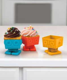 This Yumbots Cupcake Mold Set is perfect! #zulilyfinds