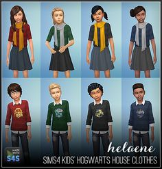 """simhelaene: """" Hi guys - I've been rewatching the Harry Potter movies. Today I made some clothing for your sim children to sort them into their appropriate Hogwarts houses (Gryffindor, Slytherin, Hufflepuff and Ravenclaw). DOWNLOAD (zipped..."""