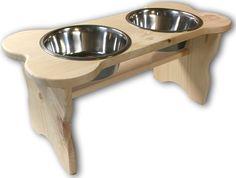 Good Wood Primitive Bone Shaped Pine Wood Dog Bowl Stand for Medium, Large Dogs Rustic Natural, Wooden Feeder Dish Holder Unfinished