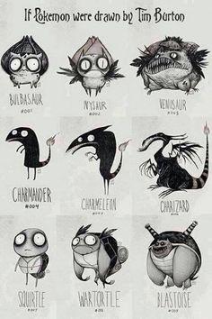 Pokemon as Tim burton would draw them