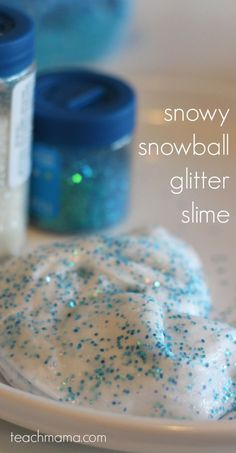 How to Make Glitter, snowball slime that kids will LOVE! Super simple fun for kids who love making slime, and it's a great indoor activity for a rainy day! #slime #diyslime #easyslimerecipe #wintercrafts #winterslime #snowslime #glitterslime #teachmama