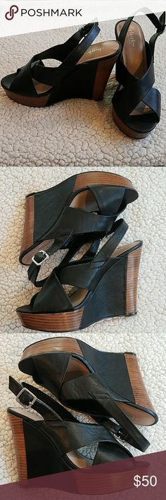 Charles David Black Slingback Wedge Sandal Size 8 Charles by Charles David wedge in prefect condition. Gentle worn.... Only wear is to the soles.   All man made materials  *Pet and smoke-free home! I often adjust my price during Posh parties and promos, keep an eye out!! Offers welcomed! Charles David Shoes Wedges
