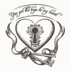 You got the keys to my heart vintage hand drawn vector illustration with ribbon isolated on white ba. You got the keys to my heart vintage hand drawn vector illustration with ribbon isolated on white ba. Ribbon Tattoos, Key Tattoos, Garter Tattoos, Rosary Tattoos, Crown Tattoos, Bracelet Tattoos, Heart Tattoos, Skull Tattoos, Flower Tattoos