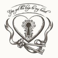You got the keys to my heart vintage hand drawn vector illustration with ribbon isolated on white ba. You got the keys to my heart vintage hand drawn vector illustration with ribbon isolated on white ba. Locket Tattoos, Key Tattoos, Skull Tattoos, Garter Tattoos, Rosary Tattoos, Bracelet Tattoos, Crown Tattoos, Heart Tattoos, Flower Tattoos