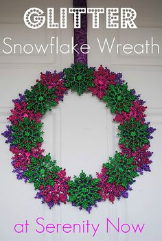 love this colorful snowflake wreath from @Pamela Armour-Zenchuk