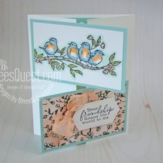Different layouts card Qbees Quest – Designs by Brenda Quintana How To Purchase Gemstones on the Int Fun Fold Cards, Folded Cards, Joy Fold Card, Stampin Up Catalog, Friendship Cards, Stamping Up Cards, Bird Cards, Card Making Techniques, Card Sketches