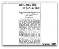 'Abdu'l-Bahá Back on Capital Visit