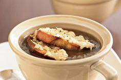 Cheesy bread and aromatic onion soup are a classic French favourite.