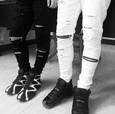 ripped jeans for men skinny Distressed slim famous brand designer biker hip hop swag tyga white black slim jeans kanye