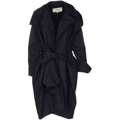 Rue Du Mail Coat ($515) ❤ liked on Polyvore featuring outerwear, coats, jackets, coats & jackets, dark blue, cotton coat, long sleeve coat, rue du mail, single-breasted trench coats and lapel coat