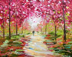 Reserved for Rebecca Custom Original Oil Painting Commission - Romance Landscape - impressionistic fine art by Karen Tarlton. $425.00, via Etsy.